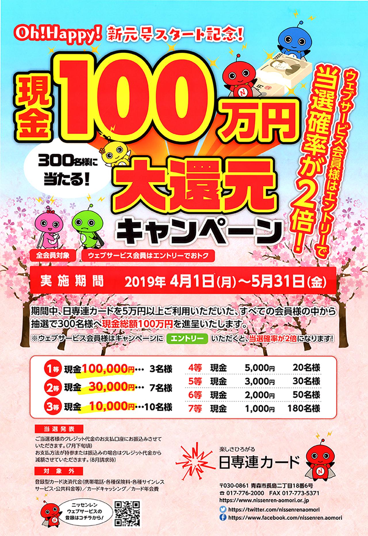 日専連現金100万円大還元キャンペーン
